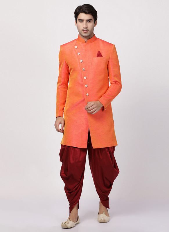 Dial N Fashion Orange  Readymade Designer Sherwani