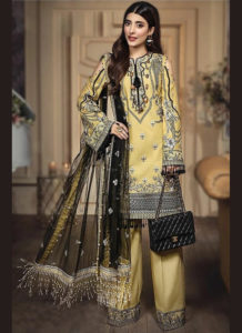 Dial N Fashion Yellow  Heavy Designer Real Georgette Salwar Suit