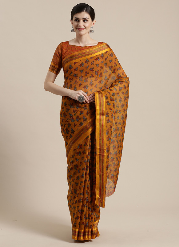 Dial N Fashion Orange  Designer Cotton Silk Printed Saree