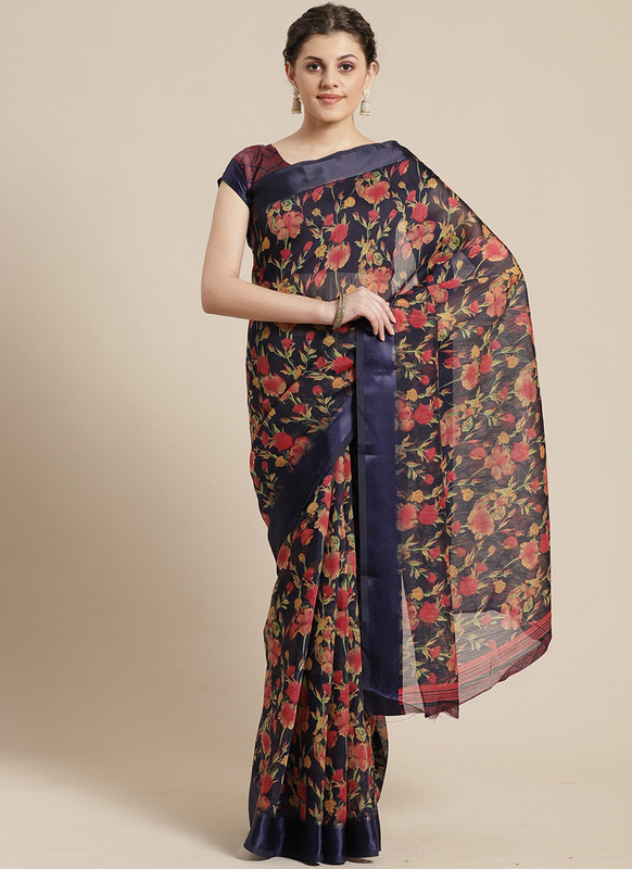 Dial N Fashion Blue  Designer Cotton Silk Printed Saree