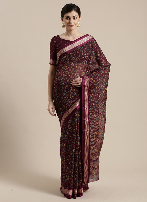 Dial N Fashion Maroon  Designer Cotton Silk Printed Saree