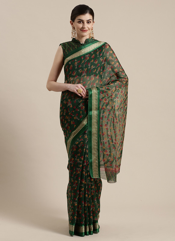Dial N Fashion Green  Designer Cotton Silk Printed Saree