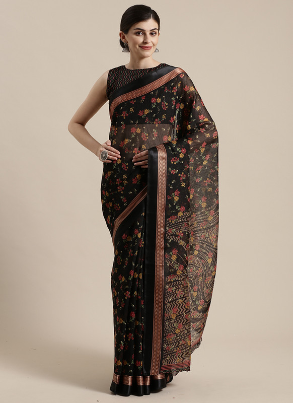 Dial N Fashion Black  Designer Cotton Silk Printed Saree