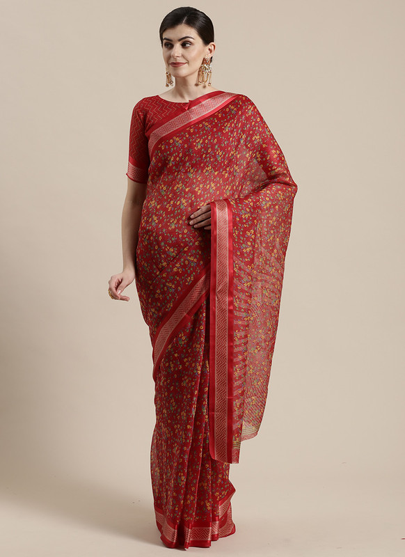 Dial N Fashion Red  Designer Cotton Silk Printed Saree