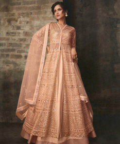 Dial N Fashion Peach  Heavy Designer Bridal Wear Butterfly Net Suit