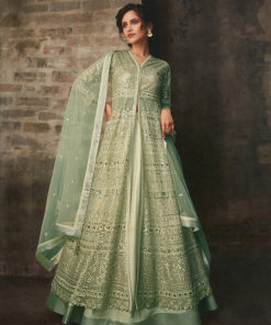 Dial N Fashion Green  Heavy Designer Bridal Wear Butterfly Net Suit