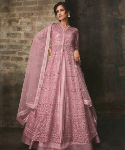 Dial N Fashion Pink  Heavy Designer Bridal Wear Butterfly Net Suit
