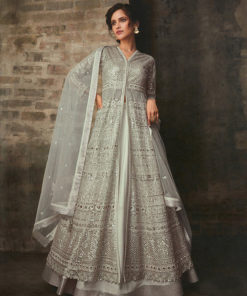 Dial N Fashion Grey  Heavy Designer Bridal Wear Butterfly Net Suit