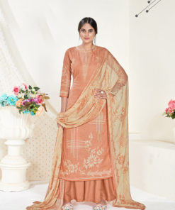 Dial N Fashion Peach  Designer Printed Party Wear Pure Cambric Cotton Plazzo Suit