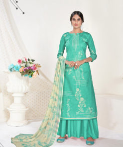 Dial N Fashion Aqua  Designer Printed Party Wear Pure Cambric Cotton Plazzo Suit