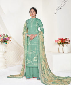 Dial N Fashion Green  Designer Printed Party Wear Pure Cambric Cotton Plazzo Suit
