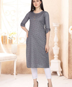 Dial N Fashion Grey Designer Casual Wear Cotton Kurti