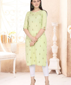 Dial N Fashion Yellow Designer Casual Wear Cotton Kurti