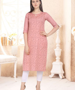Dial N Fashion Peach Designer Casual Wear Cotton Kurti