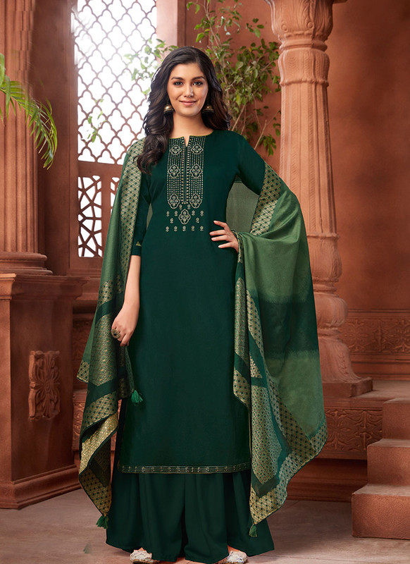 Dial N Fashion Green  Designer Party Wear Pure Zam Cotton Plazzo Suit