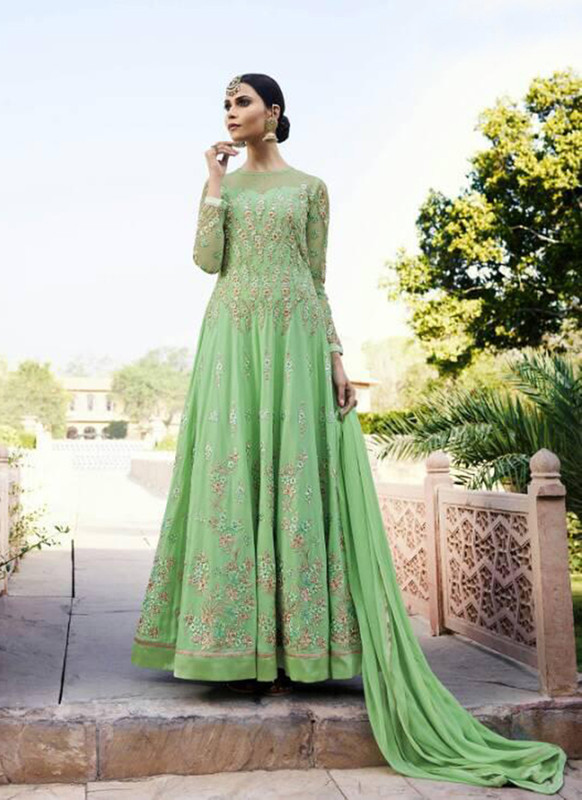 Dial N Fashion Light Green  Heavy Designer Party Wear Royal Georgette Aanarkali Suit