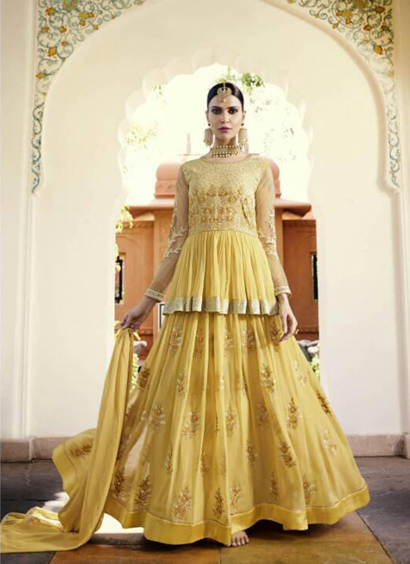 Dial N Fashion Yellow  Heavy Designer Party Wear Royal Georgette Aanarkali Suit