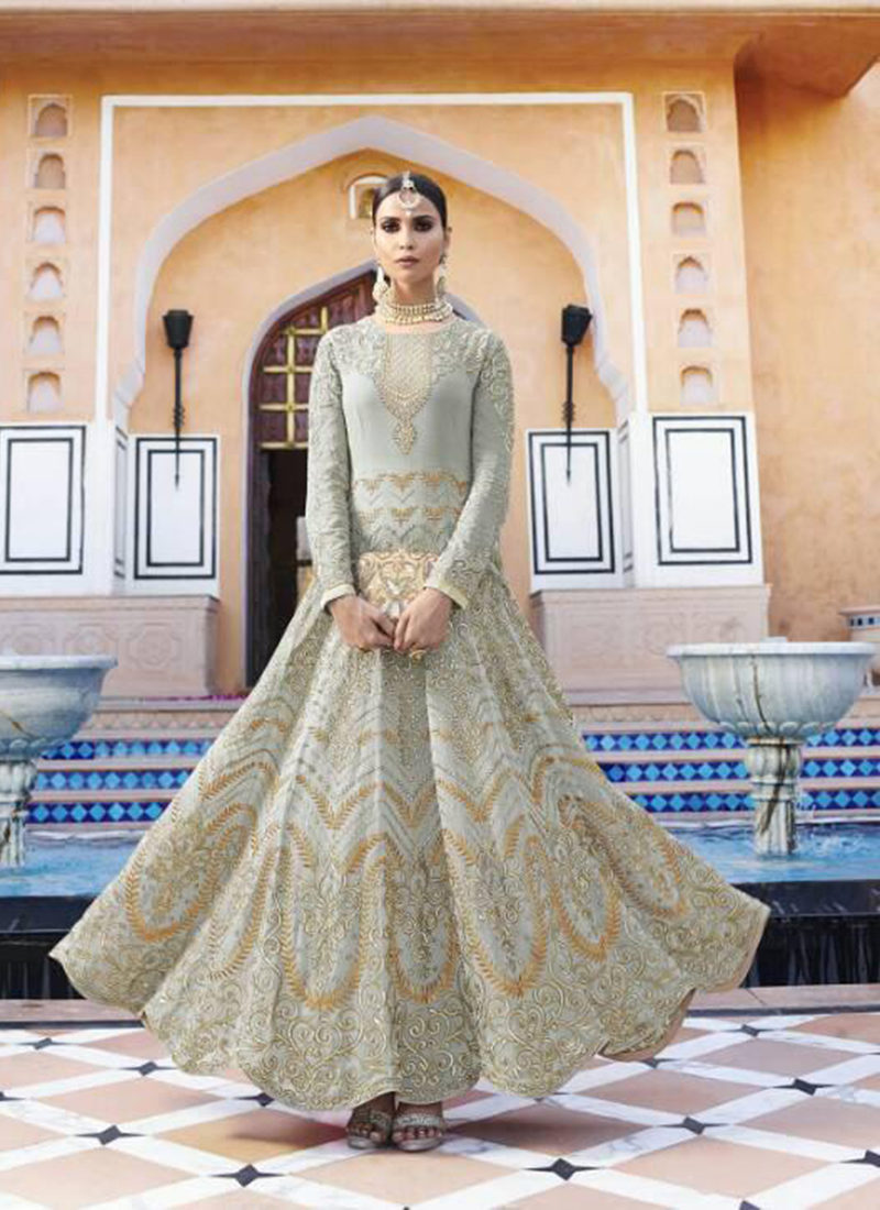 Dial N Fashion Grey  Heavy Designer Party Wear Royal Georgette Aanarkali Suit