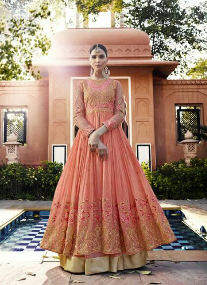 Dial N Fashion Orange  Heavy Designer Party Wear Royal Georgette Aanarkali Suit
