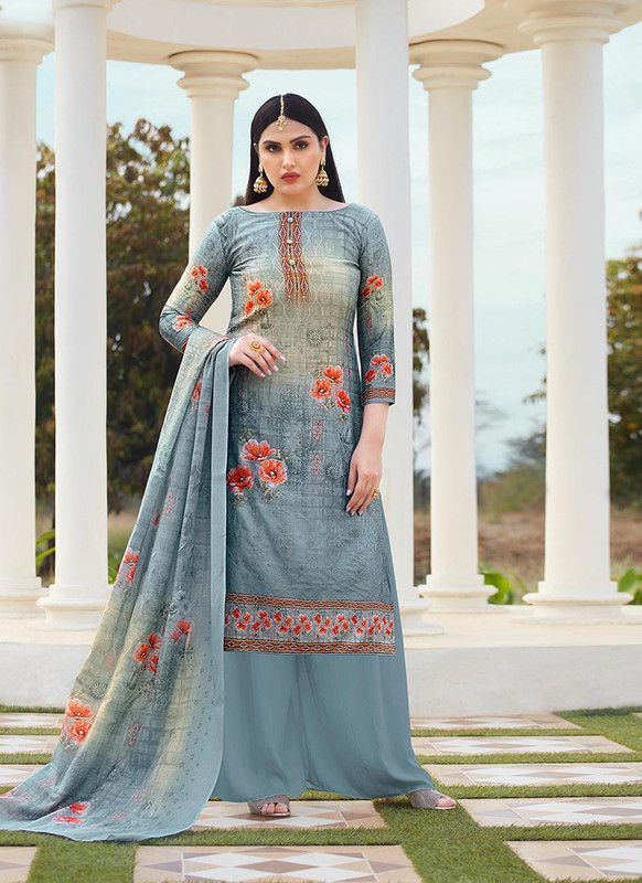 Dial N Fashion Grey  Designer Party Wear Jam Silk Cotton Plazzo Suit