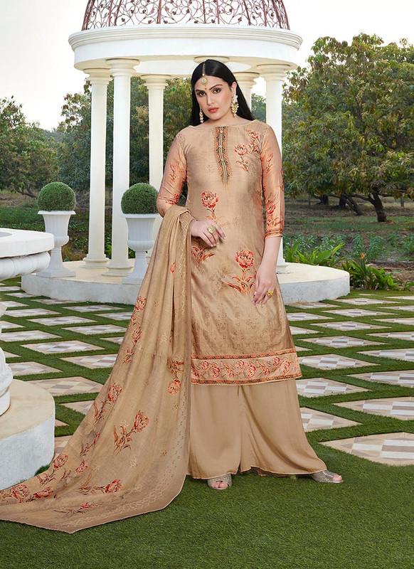Dial N Fashion Cream  Designer Party Wear Jam Silk Cotton Plazzo Suit
