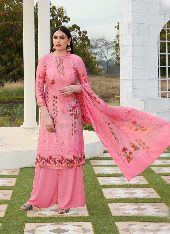 Dial N Fashion Light Pink  Designer Party Wear Jam Silk Cotton Plazzo Suit