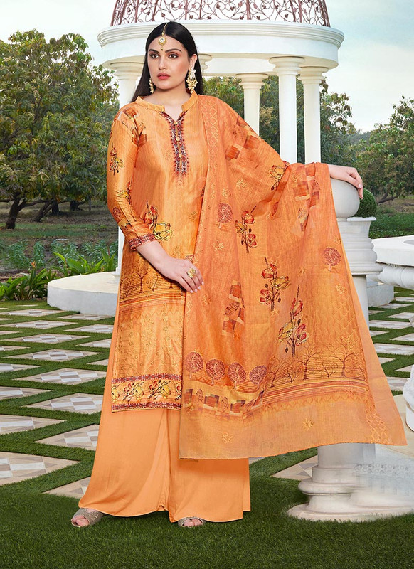 Dial N Fashion Orange  Designer Party Wear Jam Silk Cotton Plazzo Suit