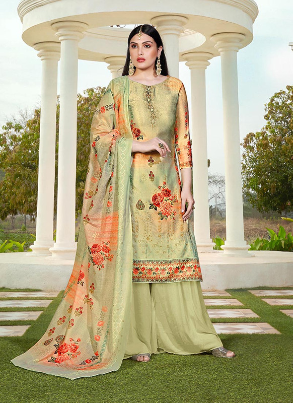 Dial N Fashion Pista Green  Designer Party Wear Jam Silk Cotton Plazzo Suit