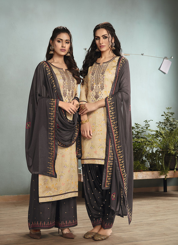 Dial N Fashion Beige  Designer Embroidred Satin Cotton Patiyala Suit