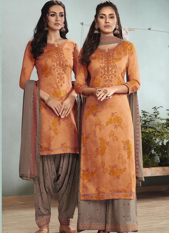 Dial N Fashion Orange  Designer Embroidred Satin Cotton Patiyala Suit