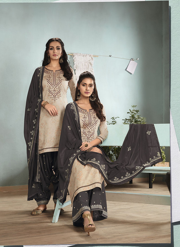 Dial N Fashion Cream  Designer Embroidred Satin Cotton Patiyala Suit