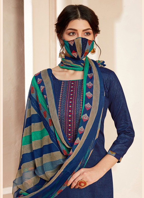 Dial N Fashion Blue  Designer Pure Jam Cotton Patiyala Suit