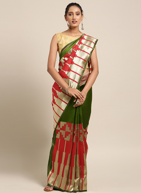 Dial N Fashion Red+Green  Designer Classic Party Wear Saree