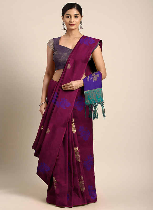 Dial N Fashion Magenta  Designer Classic Party Wear Saree