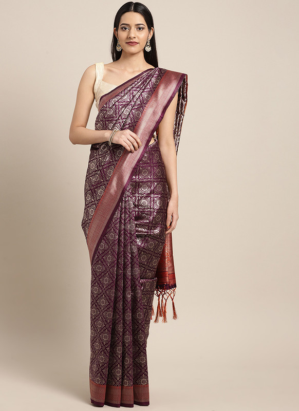 Dial N Fashion Purple  Designer Classic Party Wear Saree