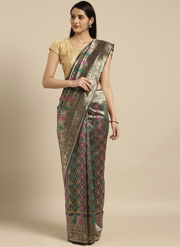 Dial N Fashion Grey  Designer Classic Party Wear Saree