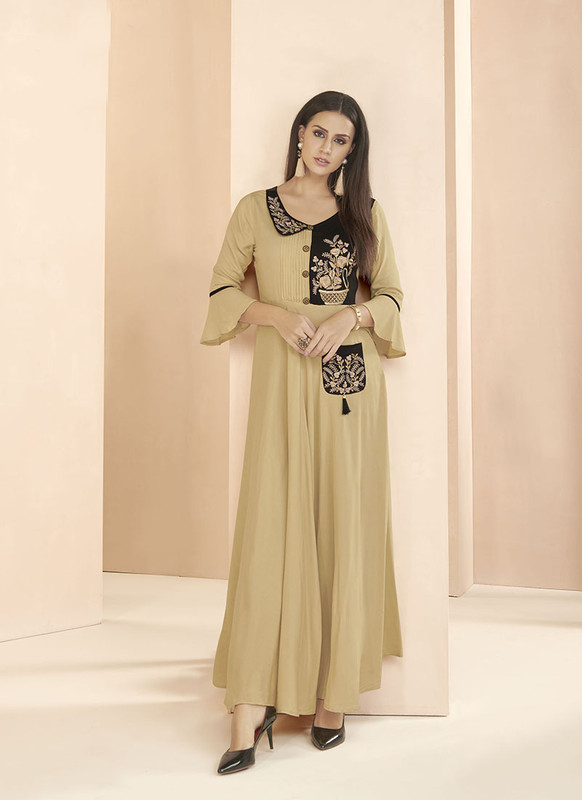 Dial N Fashion Beige  Readymade Party Wear 14KG Heavy Riyon Long?Kurti