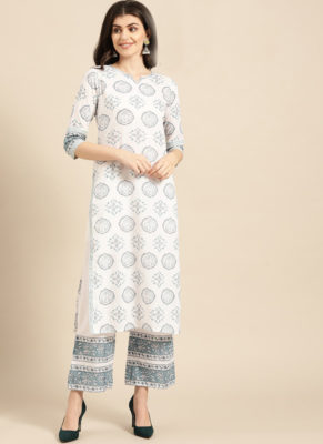 Dial N Fashion Sky Blue Rayon Casual Wear Foil Printed Work Long Kurti