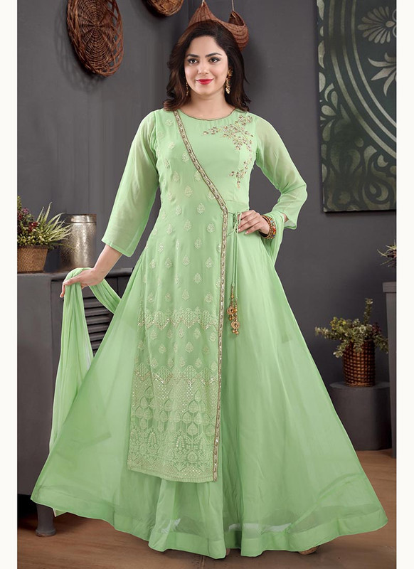 Dial N Fashion Green  Heavy Designer Readymade Salwat Suit