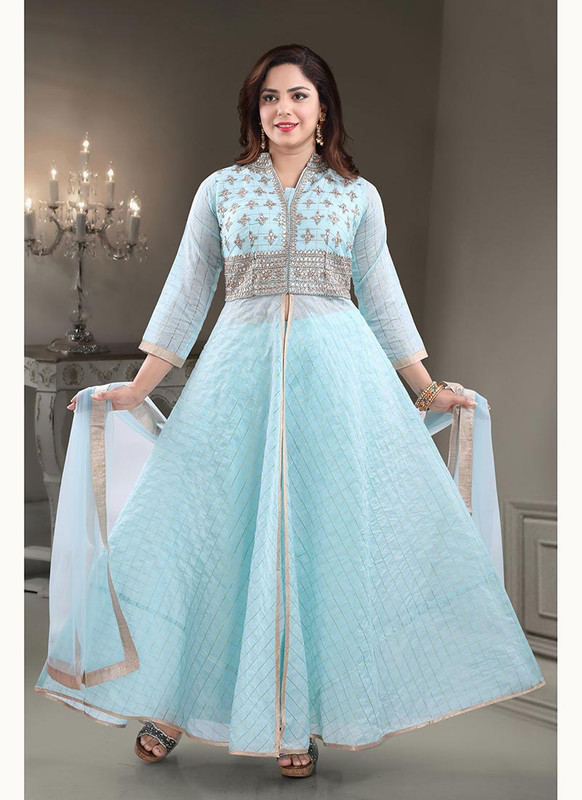 Dial N Fashion Blue  Heavy Designer Readymade Salwat Suit