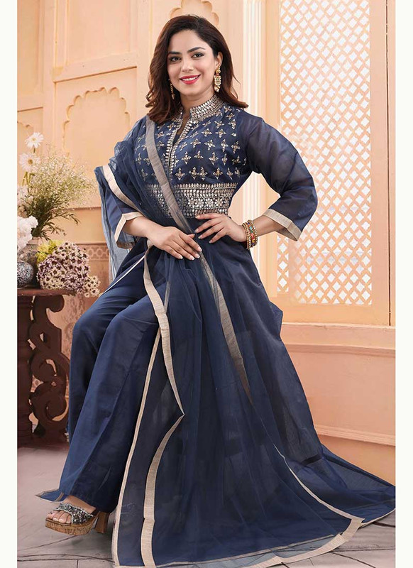 Dial N Fashion Dark Blue  Heavy Designer Readymade Salwat Suit