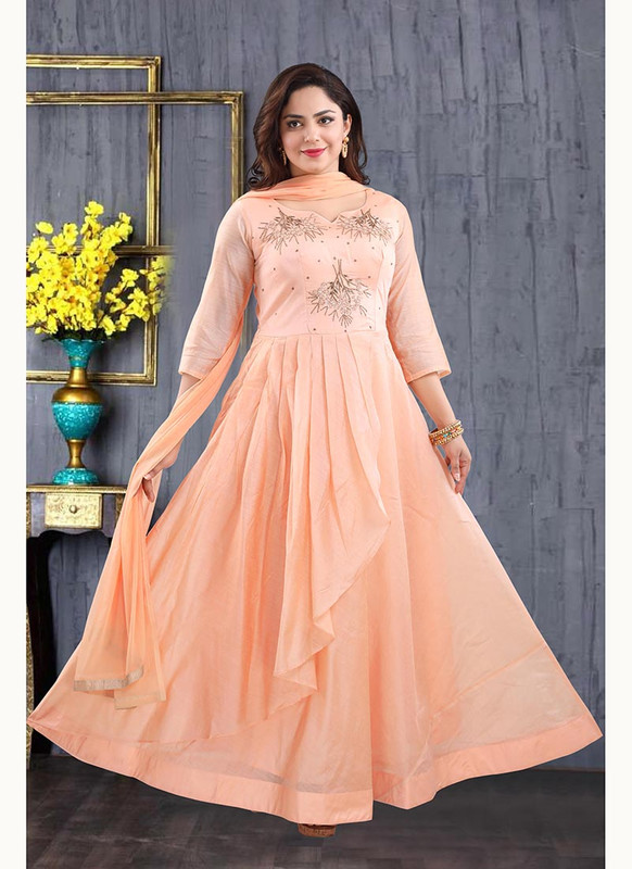 Dial N Fashion Peach  Heavy Designer Readymade Salwat Suit
