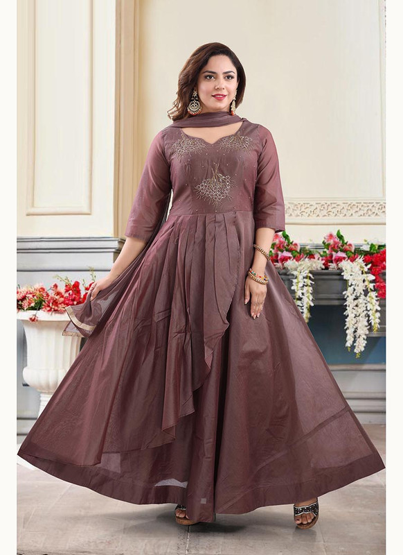 Dial N Fashion Brown  Heavy Designer Readymade Salwat Suit