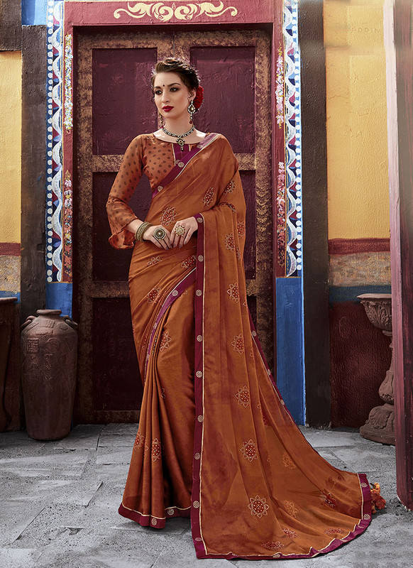Dial N Fashion Light Brown  Latest Designer Casual Wear Chiffon Saree