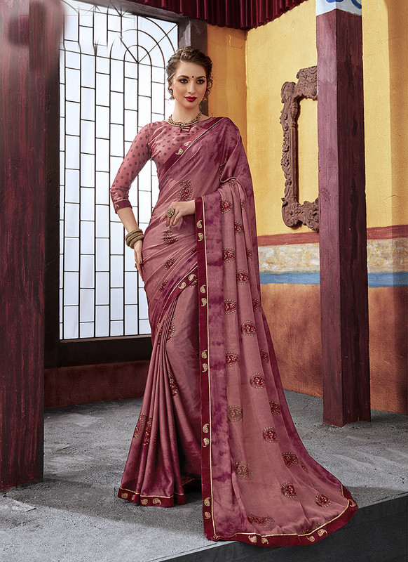 Dial N Fashion Maroon  Latest Designer Casual Wear Chiffon Saree