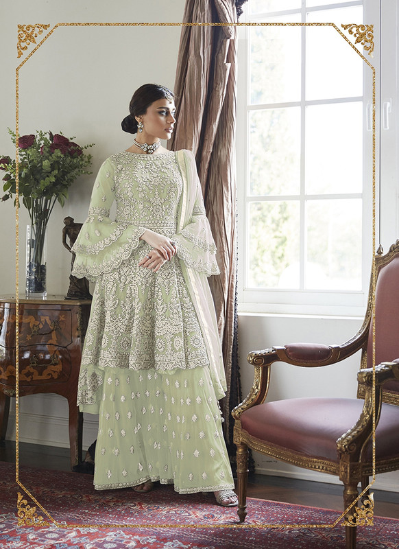 Dial N Fashion Pista Green  Heavy Designer Soft Net Sharara Style Suit