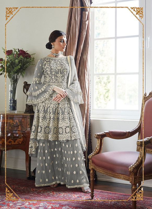 Dial N Fashion Grey  Heavy Designer Soft Net Sharara Style Suit