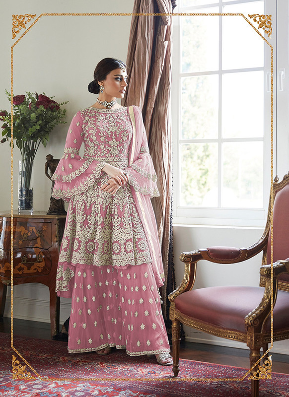 Dial N Fashion Pink  Heavy Designer Soft Net Sharara Style Suit