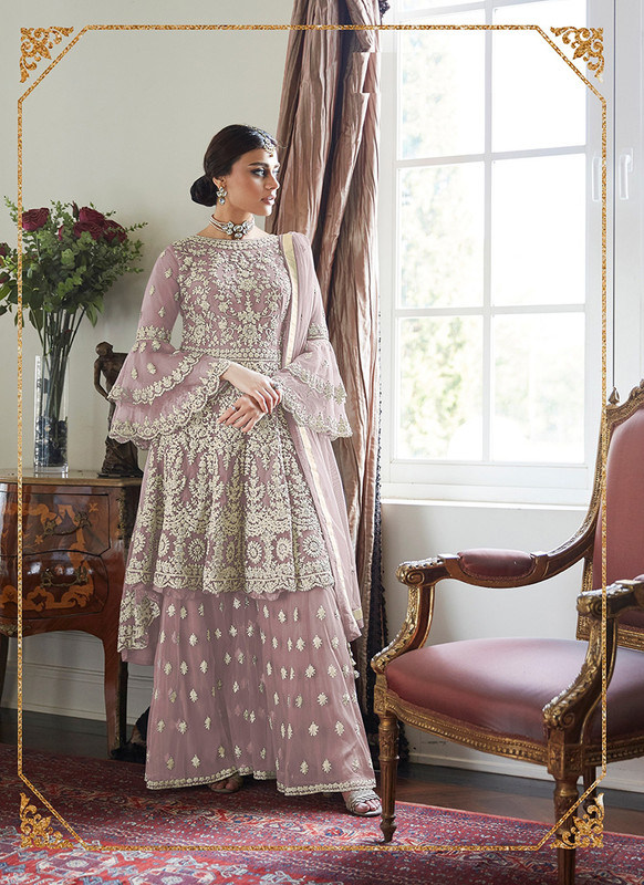 Dial N Fashion Purple  Heavy Designer Soft Net Sharara Style Suit