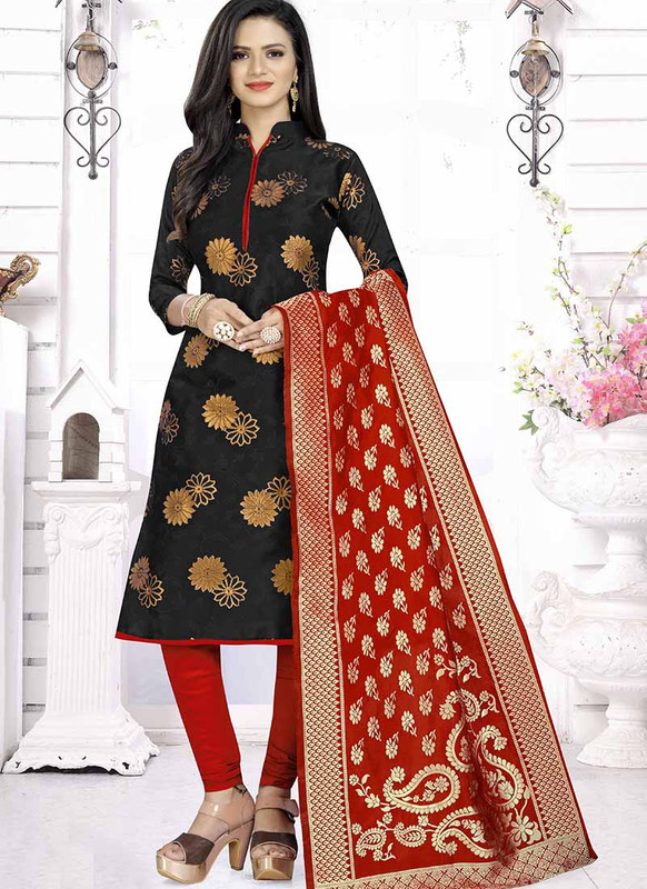 Dial N Fashion Black  Latest Designer Banarasi Silk Salwar Suit